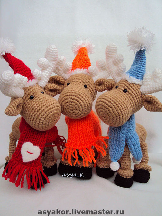 Игрушки животные, ручной работы. Ярмарка Мастеров - ручная работа. Купить Новогодние олени. Handmade. Вязание крючком, акрил