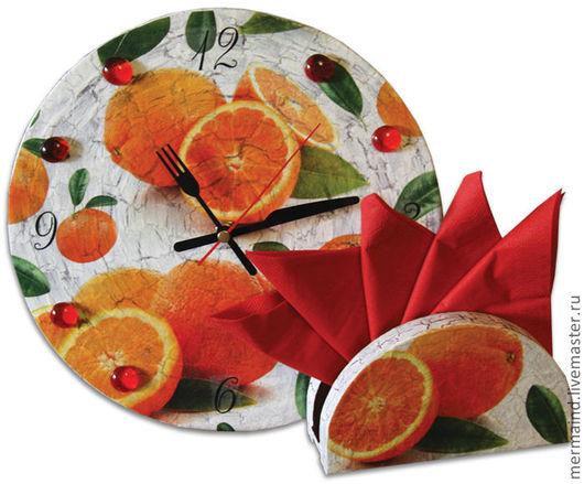 """Подарочные наборы ручной работы. Ярмарка Мастеров - ручная работа. Купить Часы и салфетница """"Апельсины"""". Handmade. Оранжевый, зеленый, сувенир"""