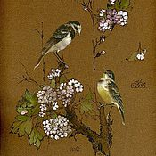 Картины и панно ручной работы. Ярмарка Мастеров - ручная работа Акварельная миниатюра из серии «Птицы и цветы». Handmade.