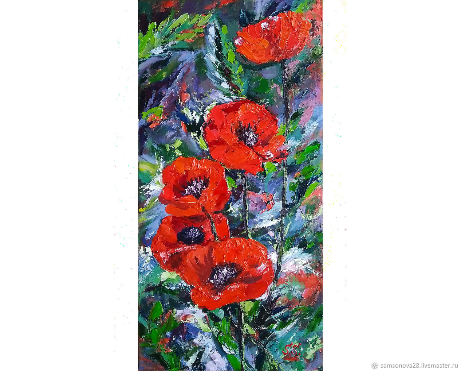 Painting with poppies 'Scarlet poppies' on canvas, Pictures, Samara,  Фото №1