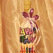 Сувениры и подарки ручной работы. Ярмарка Мастеров - ручная работа Вино в праздничном оформлении Happy Birthday. Handmade.