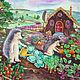 """Фантазийные сюжеты ручной работы. Ярмарка Мастеров - ручная работа. Купить Детская картина в раме """"Ежики-огородники"""" дача зеленый огород. Handmade."""