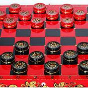 Сувениры и подарки ручной работы. Ярмарка Мастеров - ручная работа Шашки подарочные деревянные чёрно-красные Хохлома. Handmade.