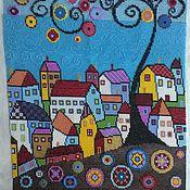 Картины и панно ручной работы. Ярмарка Мастеров - ручная работа Городок у моря. Вышитая бисером картина.. Handmade.