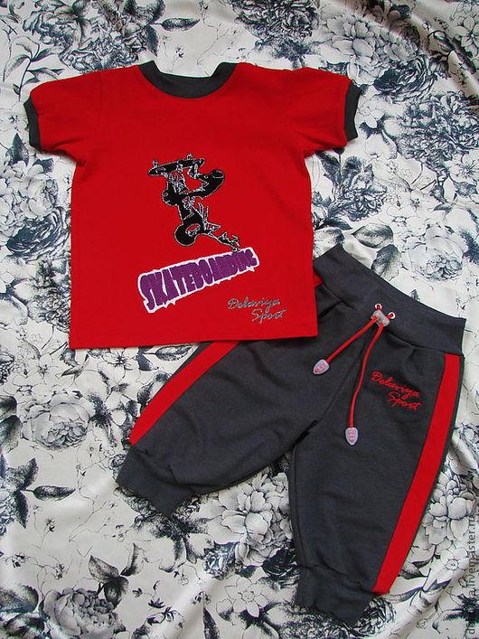"""Одежда для мальчиков, ручной работы. Ярмарка Мастеров - ручная работа. Купить Летний костюм для мальчика """"Скейт"""" от Делавьи. Handmade. Рисунок"""