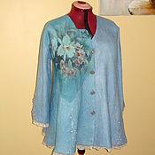 """Одежда ручной работы. Ярмарка Мастеров - ручная работа Валяный кардиган """" Ирис лазурный"""" кофта свободная голубой трапеция. Handmade."""