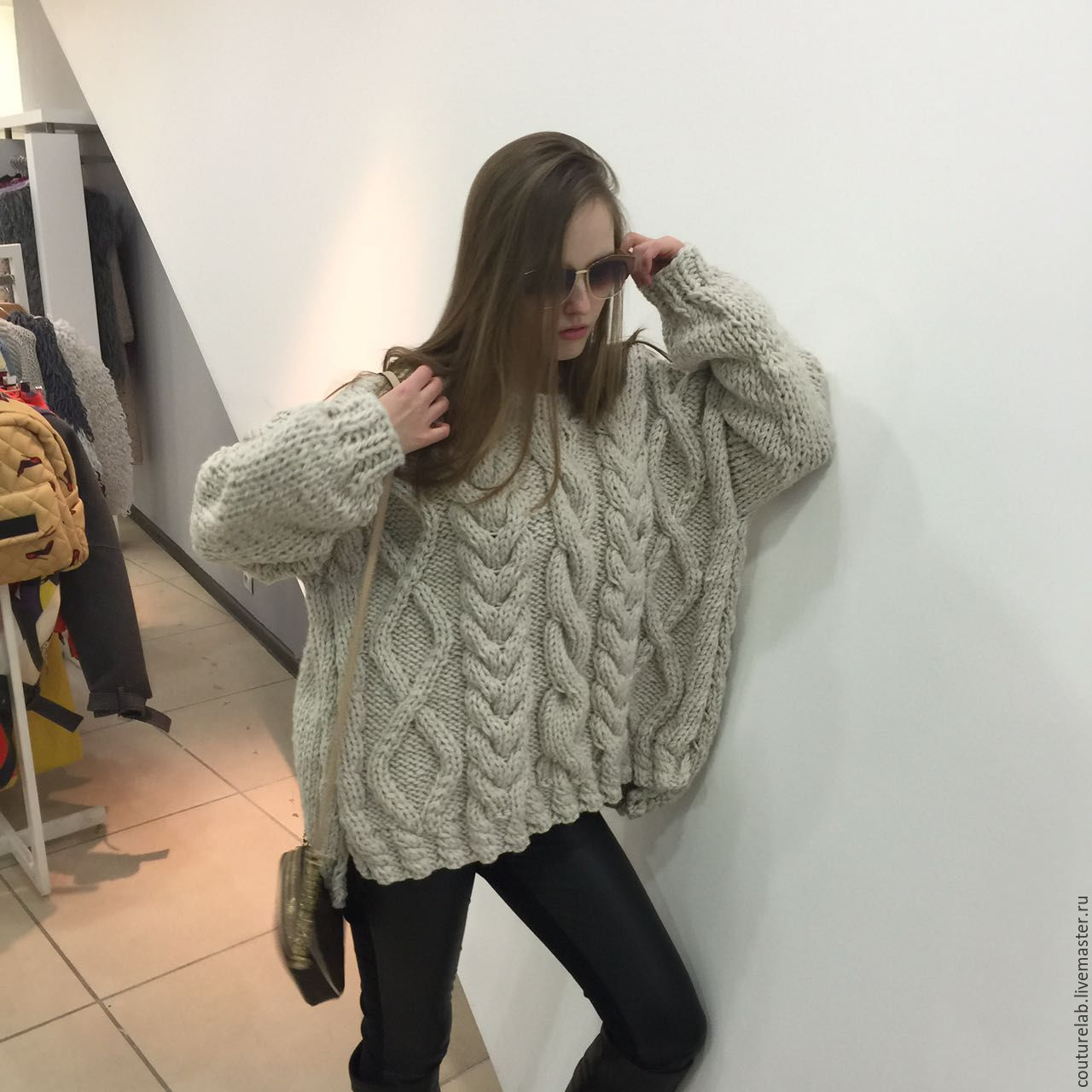 In pictures oversized sweater with braids from ShaparBrand.