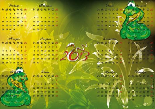 Иллюстрации ручной работы. Ярмарка Мастеров - ручная работа. Купить календарь на год Змеи. Handmade. Зеленый, календарь, веселый подарок