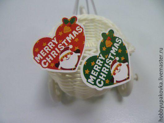 """Упаковка ручной работы. Ярмарка Мастеров - ручная работа. Купить Стикер-наклейка """"Merry Christmas"""" сердечки. Handmade. Упаковка"""