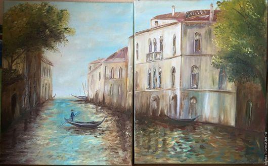 Пейзаж ручной работы. Ярмарка Мастеров - ручная работа. Купить Диптих Венеция 80х50 (40х50-2шт). Handmade. Бирюзовый, гондола