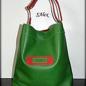 Сумка-мешок ручной работы. Ярмарка Мастеров - ручная работа Сумка мешок из натуральной кожи - цвет зеленый - красный. Handmade.