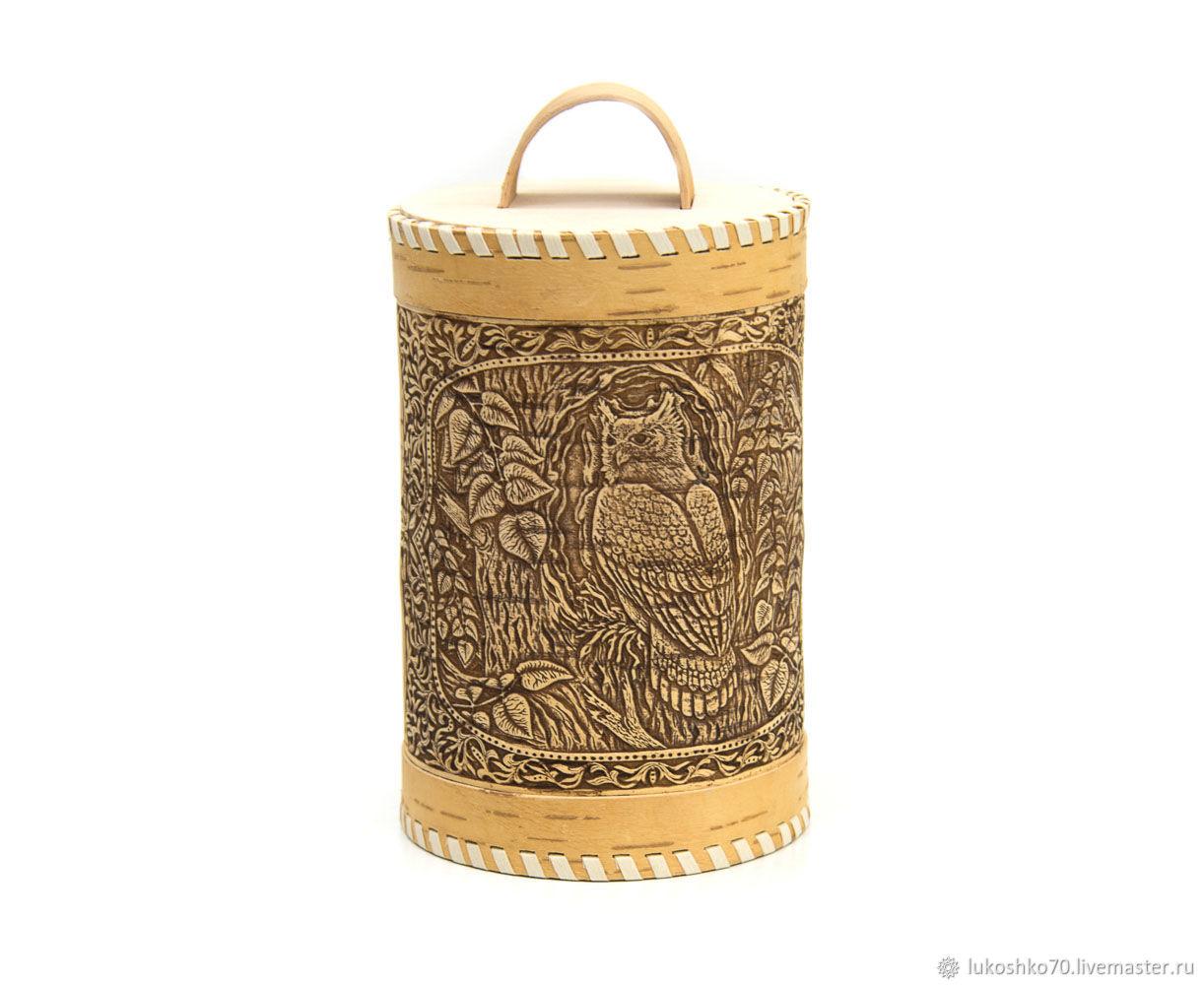 Box of birch bark 'Owl'. Capacity for storing food, Jars, Tomsk,  Фото №1