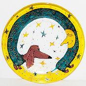 Тарелки ручной работы. Ярмарка Мастеров - ручная работа Тарелка Такса на Луне. Handmade.