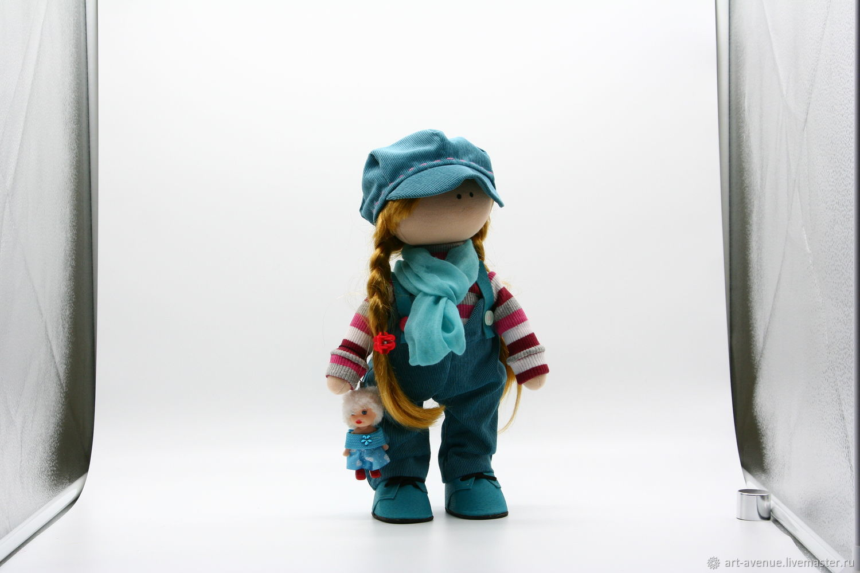 Интерьерная текстильная кукла - Девочка в кепке, Большеножка, Новороссийск,  Фото №1