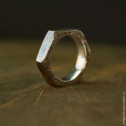 Кольца ручной работы. Ярмарка Мастеров - ручная работа. Купить Кольцо Гайка узкое. Handmade. Серебряное кольцо, стильные украшения