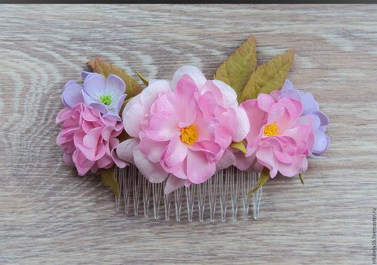 """Цветы ручной работы. Ярмарка Мастеров - ручная работа. Купить Гребень с  розами """"Зефирное облако"""". Handmade. Гребень для волос"""
