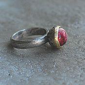 Украшения handmade. Livemaster - original item Tourmaline ring, silver and brass. Handmade.