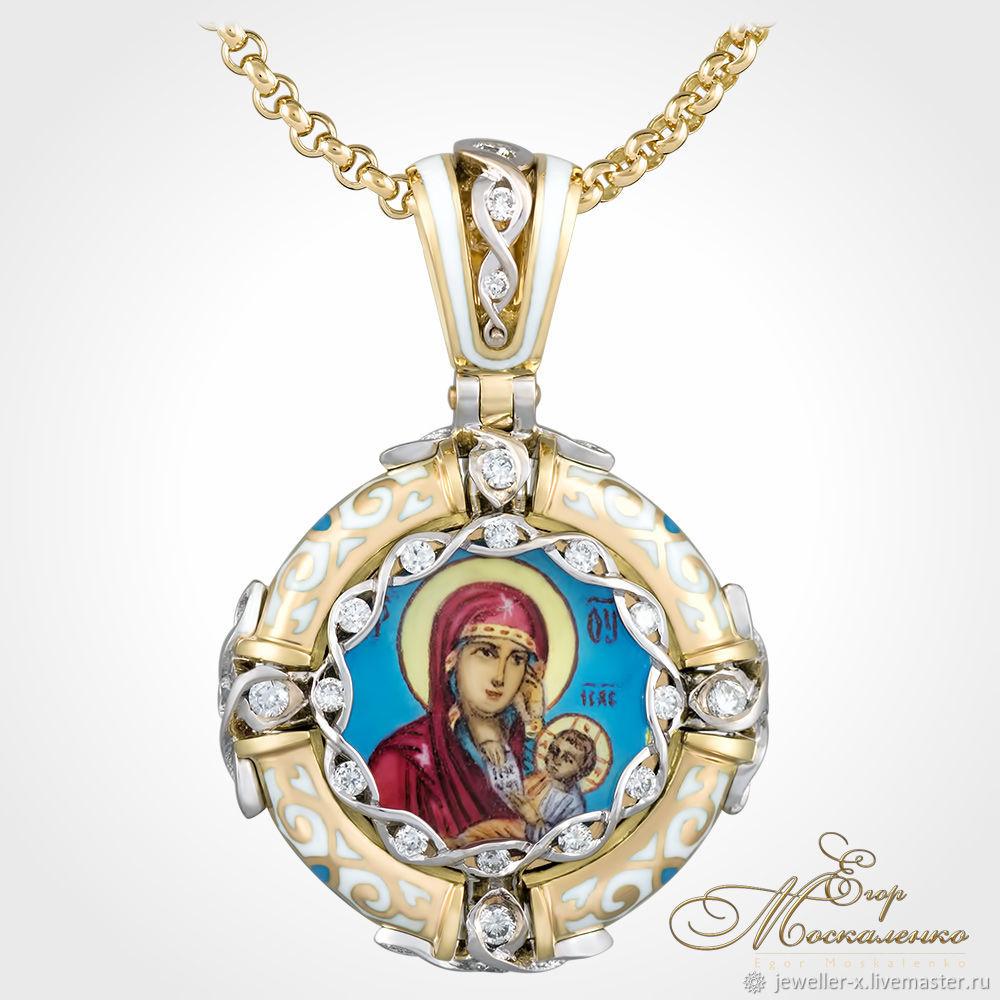 Нательная золотая икона Божией Матери`Утоли моя печали` jeweller-x.ru