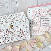 Свадебный салон handmade. Livemaster - original item Wooden wedding box wooden wedding wish book. Handmade.
