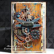 Открытки ручной работы. Ярмарка Мастеров - ручная работа Брутальная стимпанк открытка. Handmade.