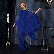 Одежда ручной работы. Ярмарка Мастеров - ручная работа Вечернее платье в пол, синее платье без рукавов. Handmade.