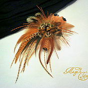 Украшения handmade. Livemaster - original item Brown hair clip brooch with feathers of the cock pheasant and wild. Handmade.