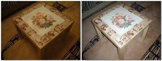 чайный/журнальный столик с вышивкой в центре. можем сделать на любую тематику. работа выложена в качестве примера