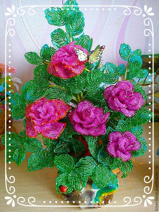 Цветы ручной работы. Ярмарка Мастеров - ручная работа. Купить Куст из роз на пенёчке !!!!!!. Handmade. Фуксия, интерьерная композиция