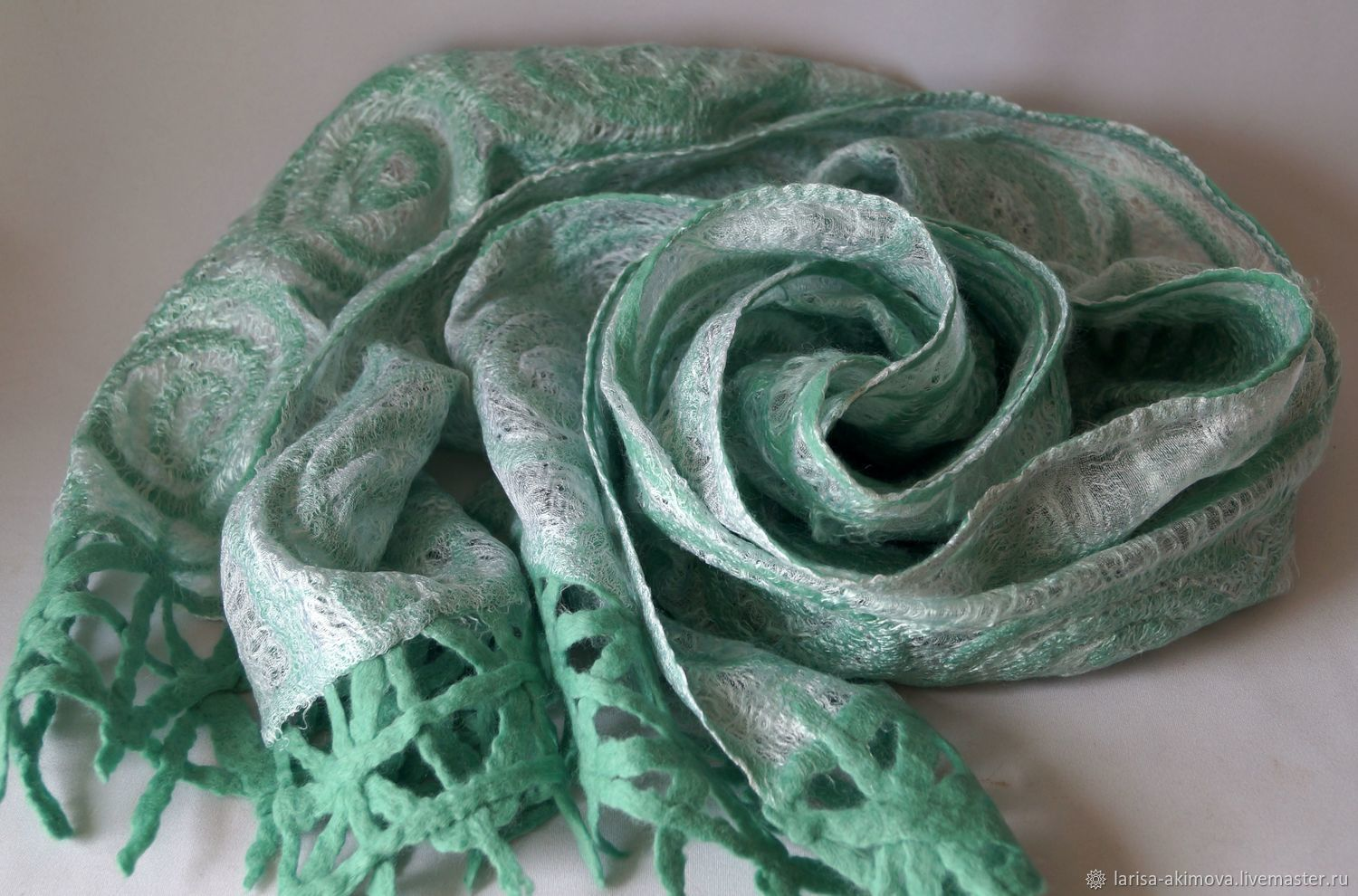 41db4558 ... Shawls & Warm Stoles handmade. Order Felted scarf Mint temptation,  double-sided air ...