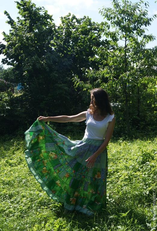 Юбки ручной работы. Ярмарка Мастеров - ручная работа. Купить Юбка-солнце лоскутное шитье. Handmade. Разноцветный, юбка солнце