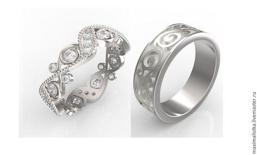 """Свадебные украшения ручной работы. Ярмарка Мастеров - ручная работа. Купить Обручальные кольца """"Символ Любви"""" белое золото 585 пробы, бриллианты. Handmade."""