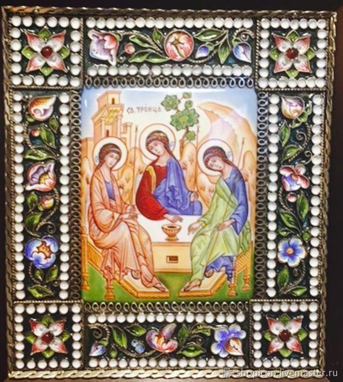 Икона финифть Святая Троица, Иконы, Москва,  Фото №1
