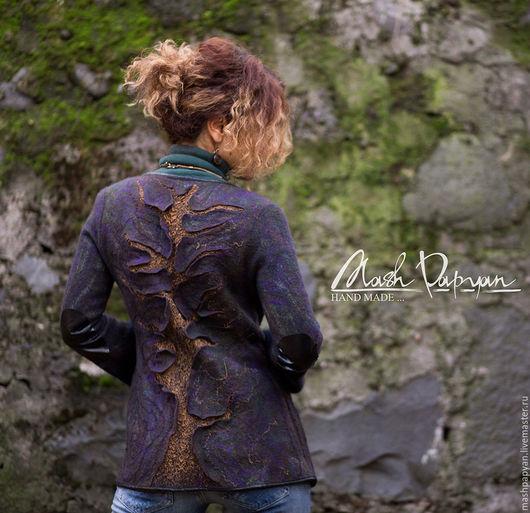 """Пиджаки, жакеты ручной работы. Ярмарка Мастеров - ручная работа. Купить Валяный пиджак """" Кольца времени"""". Handmade. Комбинированный"""