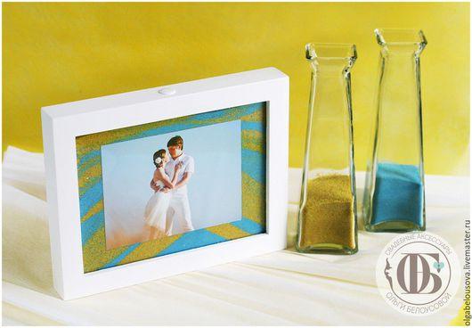 """Свадебные аксессуары ручной работы. Ярмарка Мастеров - ручная работа. Купить Песочная церемония """"Рамка с фото"""";Набор с рамкой и песком. Handmade."""