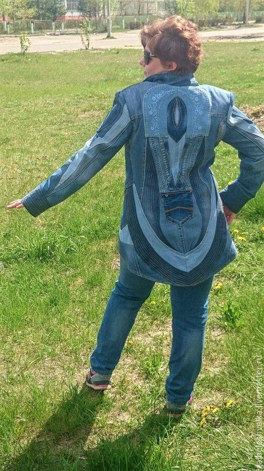 """Пиджаки, жакеты ручной работы. Ярмарка Мастеров - ручная работа. Купить Джинсовый фрак """"Модница -3"""". Handmade. Синий"""