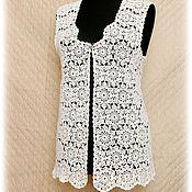 Одежда ручной работы. Ярмарка Мастеров - ручная работа Жилет белый вязаный крючком. Handmade.