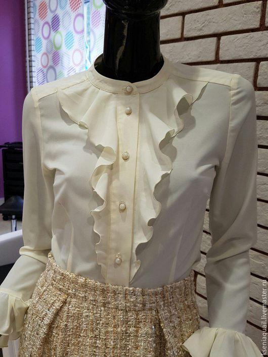 """Блузки ручной работы. Ярмарка Мастеров - ручная работа. Купить Блузка """"Мадемуазель Коко"""". Handmade. Лимонный, шелковая блузка"""