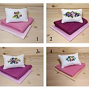 Куклы и игрушки handmade. Livemaster - original item Bed linen for dolls (pink). Handmade.