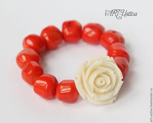 Браслеты ручной работы. Ярмарка Мастеров - ручная работа. Купить браслет из коралла с розой. Handmade. Браслет, браслет из коралла