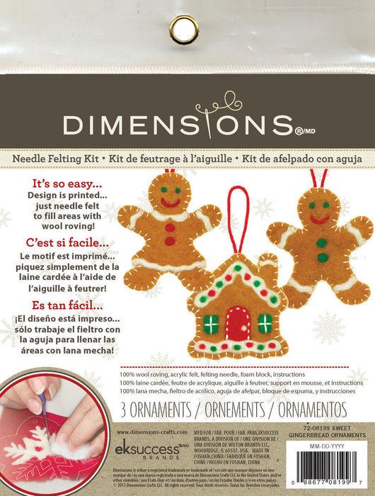 Валяние ручной работы. Ярмарка Мастеров - ручная работа. Купить Dimensions раритетный набор для валяния новогодние игрушки на елку. Handmade.