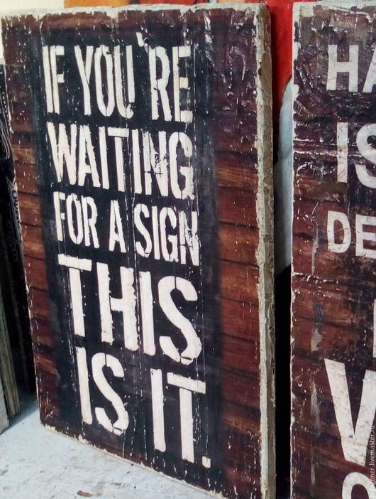 Город ручной работы. Ярмарка Мастеров - ручная работа. Купить Панно деревянное 30х40_ЛОФТ_Sign W0096. Handmade. Чёрно-белый