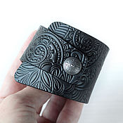 Украшения handmade. Livemaster - original item Black Grey Leather Bracelet. Handmade.