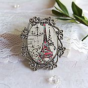 Brooches handmade. Livemaster - original item Vintage Brooch Paris My Love. Handmade.