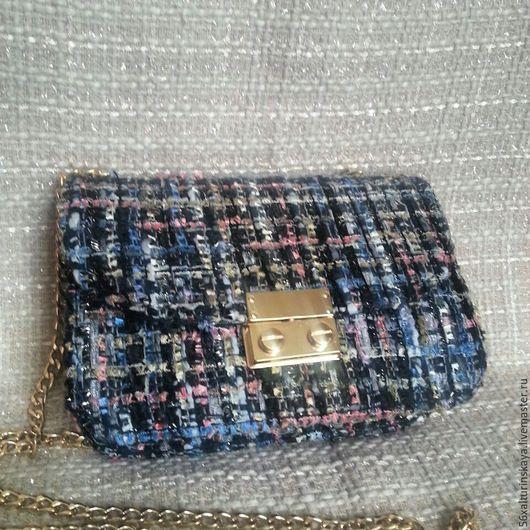 Женские сумки ручной работы. Ярмарка Мастеров - ручная работа. Купить сумка из ткани шанель. Handmade. Тёмно-синий