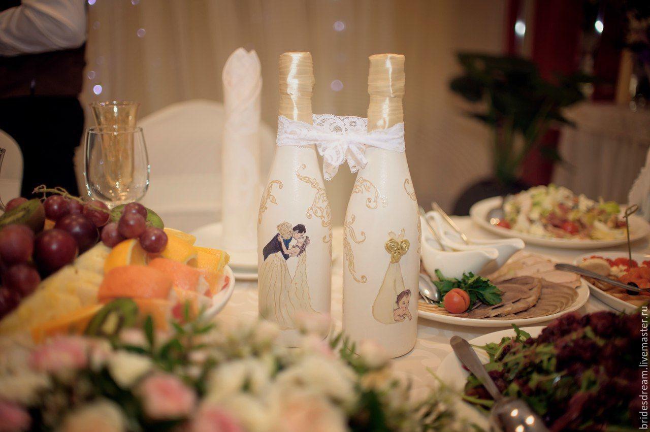 Декор свадебных бутылок. Оформление бутылок, Бутылки, Москва, Фото №1