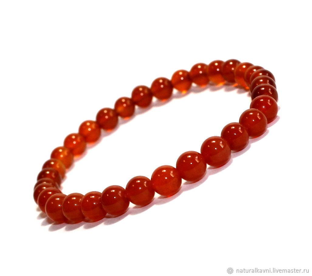 Bracelet with natural carnelian, Bead bracelet, Moscow,  Фото №1