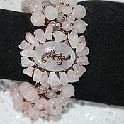 Украшения handmade. Livemaster - original item Copper bracelet with rose quartz. Handmade.