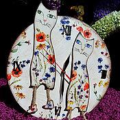 """Для дома и интерьера ручной работы. Ярмарка Мастеров - ручная работа Часы """"Цветущие котики"""". Handmade."""