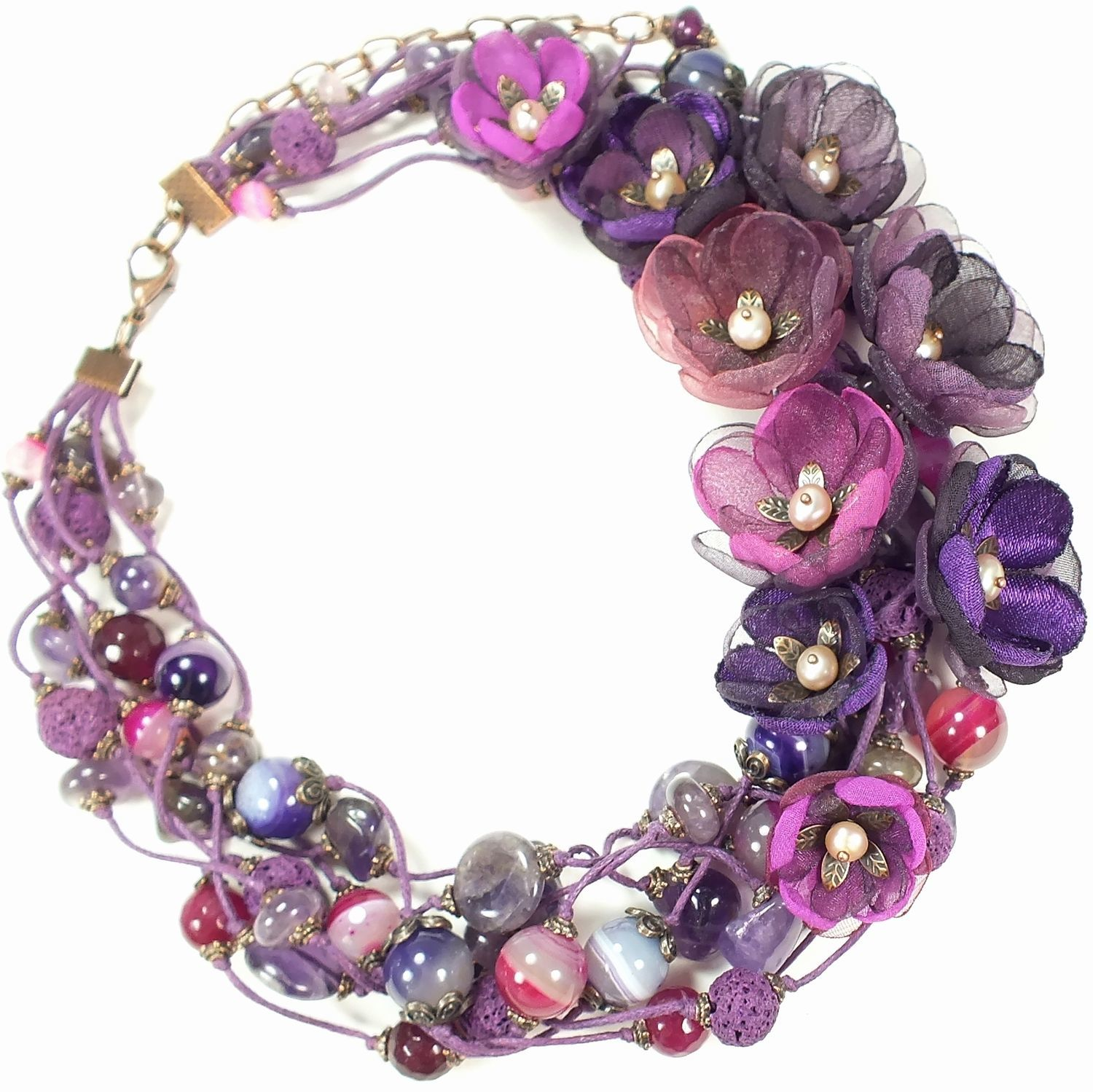 BlackBerry Hops. Necklace made of natural stones, fabric flowers, Necklace, St. Petersburg,  Фото №1