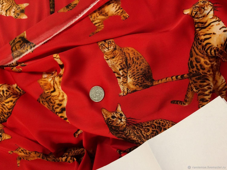 Dolce & Gabbana Шёлк-стрейч шикарный Кошки красные – купить в интернет-магазине на Ярмарке Мастеров с доставкой